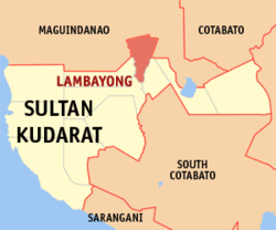 Map of Sultan Kudarat with Lambayong highlighted