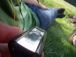 Portable media player - Close-up view of the Philips GoGear SA1110 flash-based player