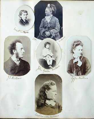 John Everett Millais - Photo assemblage of Millais' family circa 1870 (compiled by Emily Fane de Salis).  Left to right: Top line Everett Millais; Mrs Emily Millais;  Middle line: J.E, Millais, John Guille Millais; Effie Millais;  Bottom line: Caroline Alice Millais