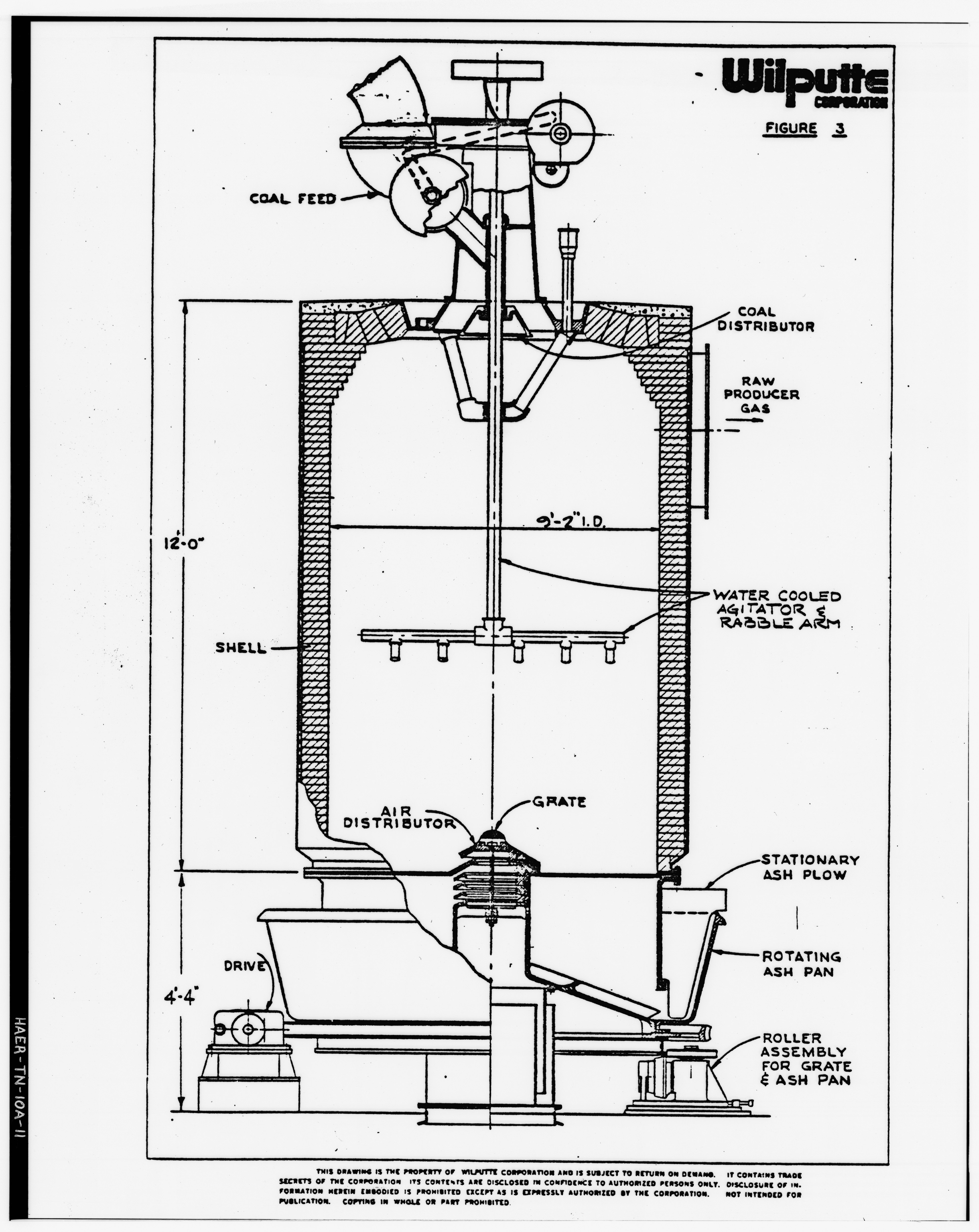 Photograph of a line drawing. 'CROSS SECTION OF GAS PRODUCER.' From George R. Cooper (Wilputte Corporation). 'Operating Overview of a Producer Gas Plant (12 Machines) at HAER TENN,82-KINPO,2-A-11
