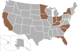 Pioneer Football League-locaties
