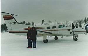 Rovaniemi Airport -  Piper PA-42 at Rovaniemi Airport in March 1988