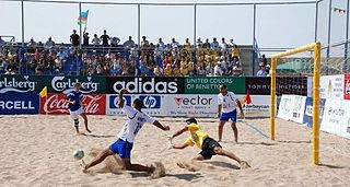Beach soccer football played in beach