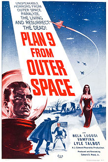"""PLAN 9 FROM OUTER SPACE"" in large red letters adorns a beam from a night sky containing spacecraft and warplanes. The foreground has the head of a man in a bubble-headed red spacesuit, a caped vampire attacking a victim, a seductive vampiress and gravediggers at work. Above the title is ""UNSPEAKABLE HORRORS FROM OUTER SPACE PARALYZE THE LIVING AND RESURRECT THE DEAD!""; below are ""BELA LUGOSI"", ""VAMPIRA"" and ""LYLE TALBOT""."