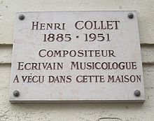 Plaque Henri Collet, 104 rue de la Tour, Paris 16.jpg
