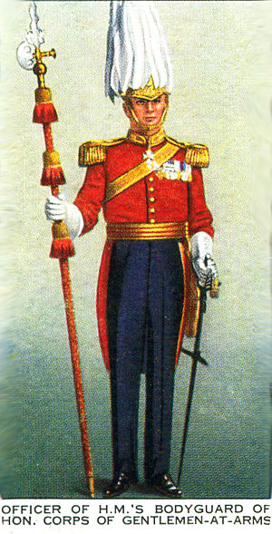 Honourable Corps of Gentlemen at Arms - The uniform of the Gentlemen at Arms, depicted on a cigarette card produced for the Coronation of King George VI and Queen Elizabeth in 1937.