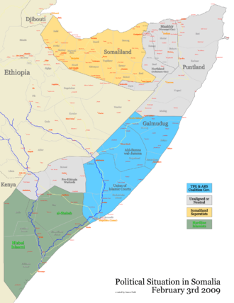War in Somalia (2006–2009) - Image: Political situation in Somalia following the Ethiopian withdrawal