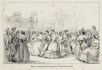 1844 in Sweden - Polkan, dansad på Kröningsbalerne i Stockholm år 1844. Teckning troligen gjord av Fritz von Dardel - Nordiska Museet - NMA.0059056