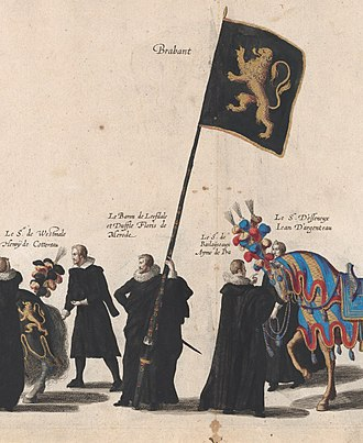 Duchy of Brabant - Brabant Lion by Floris de Merode, Baron of Leefdael during the solemn Funeral of Albert VII, Archduke of Austria
