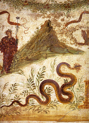 Mount Vesuvius - Fresco of Bacchus and Agathodaemon with Mount Vesuvius, as seen in Pompeii's House of the Centenary.