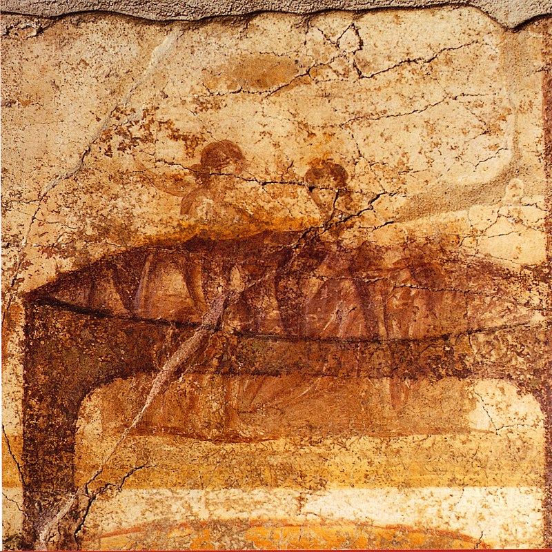 Lesbian couple from a series of erotic paintings at the Suburban Baths, Pompeii