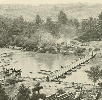 Battle of North Anna - Pontoon bridge constructed by Union engineers for crossing the North Anna River