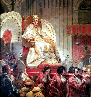 Flabellum - A 19th-century painting by Horace Vernet of Pope Pius VIII being carried on the sedia gestatoria and flanked by flabella.
