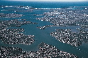 Ria - Georges River, in the southern suburbs of Sydney, Australia is a ria, or drowned river valley. The deeply indented shape of the ria reflects the dendritic pattern of drainage that existed before the rise in sea level that flooded the valley.