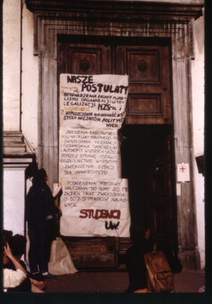 Independent Students' Union - May 1988. Student protests at the Warsaw University. First point on the list demands re-legalization of the NZS
