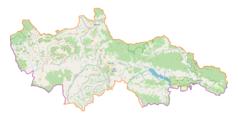 """Mapa konturowa powiatu nowotarskiego, blisko prawej krawiędzi na dole znajduje się punkt z opisem """"Wysokie Skałki"""""""