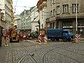 Praha, Nové Město, Lazarská, rekonstrukce křižovatky.JPG