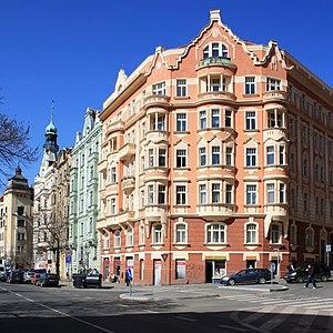 Vršovice - The corner of Kodaňská and Finská streets