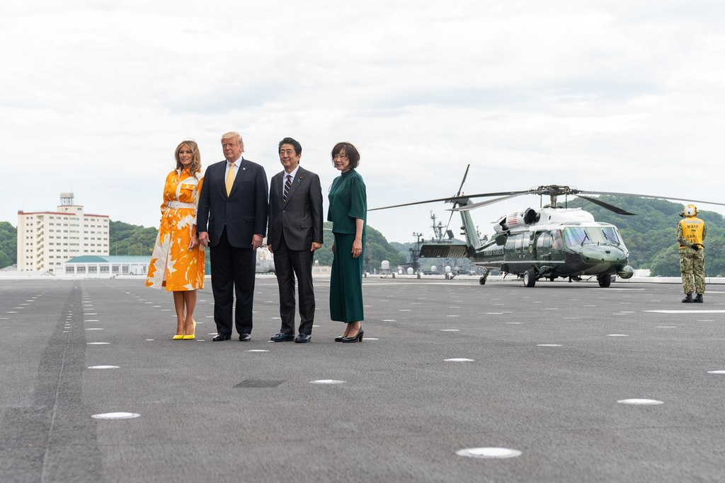 President Trump and First Lady Melania Trump with Prime Minister Shinzo Abe and Mrs. Akie Abe (47967731891).jpg