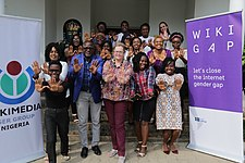 PressForProgress Group Photograph of Wikimedians with H.E. Inger Ultvedt, Ambassador of Sweden at the 2018 Wikigap edit-a-thon Abuja.jpg