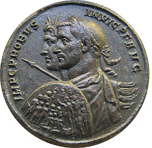 Augustus (honorific) - A coin of the late 3rd century emperor Probus, showing abbreviated titles and honorifics - IMP·C·PROBUS·INVIC·P·F·AUG