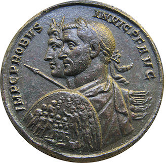Augustus (title) - A coin of the late 3rd century emperor Probus, showing abbreviated titles and honorifics – IMP·C·PROBUS·INVIC·P·F·AUG