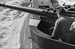 QF 4 inch naval gun Mk IV, XII, XXII - Mk XII gun on unidentified T-class submarine, during World War II