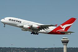 Qantas Airbus A380-800 at Perth Airport Monty-1.jpg
