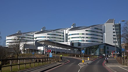 The Queen Elizabeth Hospital in Birmingham has the largest single floor critical care unit in the world Queen Elizabeth Hospital Birmingham, Edgbaston, Birmingham, England-7March2011.jpg