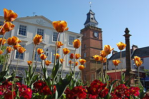 Queensberry Square, Dumfries, with flowers.jpg