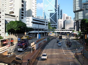 Admiralty, Hong Kong - Traffic of Queensway in Admiralty, looking west towards Central.
