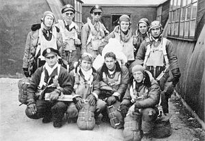 RAF Deopham Green - A bomber crew of the 452nd Bomb Group on their return from the Romilly mission to France.