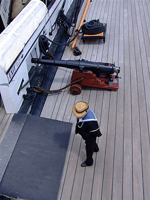 RBL 20 pounder Armstrong gun - Image: RBL 20 pounder 16 cwt gun HMS Warrior from above