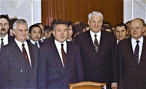 Nursultan Nazarbayev - Nazarbayev (second from left) at the signing of the Alma-Ata Protocol, December 1991