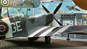 349th Squadron (Belgium) - Spitfire Mk IX in the markings of No. 349 Squadron at the Royal Museum of the Armed Forces in Brussels.