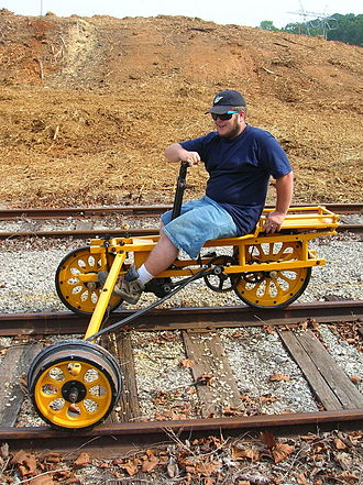 Handcar - Handcar designed to be operated by a single person, widely known in North America as a Velocipede.