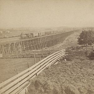 New York and Harlem Railroad - Image: Railroad tresle work, between 100th & 116th Streets on 4th Avenue, New York, from Robert N. Dennis collection of stereoscopic views