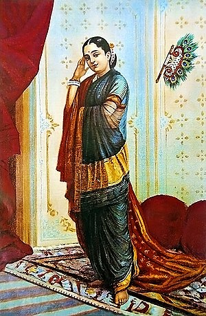 Mṛcchakatika - An oleographic print depicting the female protagonist Vasantasenā, a rich courtesan.