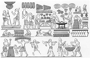 Ancient Egyptian cuisine - A depiction of the royal bakery from an engraving in the tomb of Ramesses III in the Valley of the Kings. There are many types of loaves, including ones that are shaped like animals. 20th dynasty.