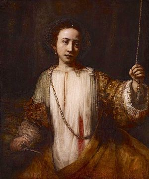 The Rape of Lucrece - Lucretia, Rembrandt, 1666