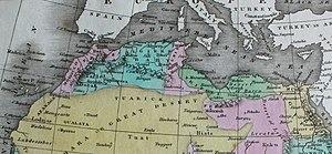 Kaart van het regentschap van Algiers (in lichtblauw) en alle Barbary Coast in 1824 [3]