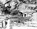 Reinforcing mat and rock formation that will be below the no 1 generating unit in the powerhouse, May 8, 1925 (SPWS 355).jpg