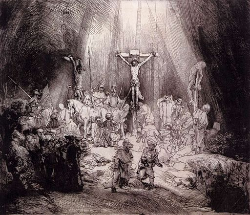 Rembrandt - The Three Crosses (third state) - WGA19085