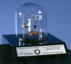 Semiconductor package - This replica of the first laboratory transistor shows connecting leads and a glass jar for protection; packaging the device was critical to its success.