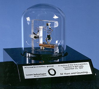 Timeline of United States inventions (1946–1991) - A replica of the first working transistor.