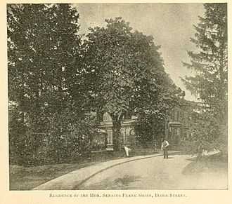 Frank Smith (Canadian politician) - The Senator's residence in Toronto, seen in the 1890s.