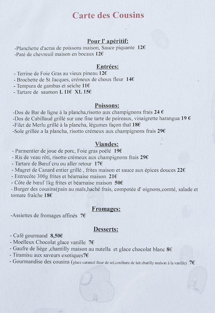 Menu Restaurant L Alpine Greoliere Les Neiges