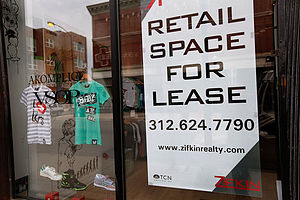 Lease - A sign in Chicago offering space for lease.