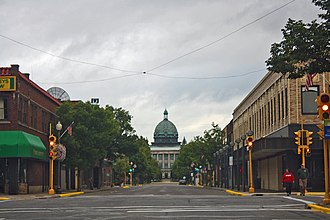 Rhinelander, Wisconsin - Looking east at downtown Rhinelander with view of the Oneida County Courthouse dome