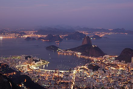 Botafogo at night seen from Christ the Redeemer Rio night.jpg